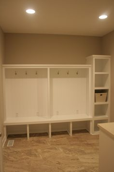 Family Entry open lockers complete w/individual sockets for re-charging.