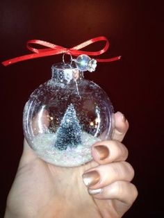 (Wire - separate from cap)                     (Charm on wire) Step 7: Tie a pretty ribbon on top, and you have your snow globe ornament!