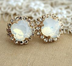 Crystal White Opal stud Petite vintage earring - 14k plated gold post earrings real swarovski rhinestones .