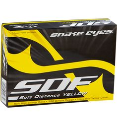 Snake Eyes SDF Soft Distance Yellow Golf Balls at Golfsmith.com - Packaging design by Brandon Ortwein