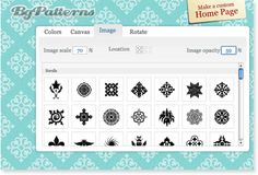 Make your own patterned backgrounds  BgPatterns.com is an online tool for creating customized patterns for websites, desktops, or Twitter pages. You can choose the color, design, texture, and size of your image, test it as a tiled background, and download a jpeg of the image you made. Nifty.