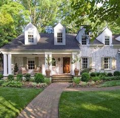 Sharing some of our favorite exteriors at the moment on Beckiowens.com today!! Whitewashed brick, German shmeer, dormer windows
