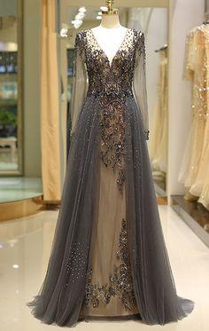 Elegant A Line V Neck Long Sleeves Tulle Grey Prom Dresses uk with Beading Prom Dress, Grey Prom Dress, Long Sleeves Prom Dress, A-Line Prom Dress, V-Neck Prom Dress Prom Dresses 2019 Grey Prom Dress, Prom Dresses Long With Sleeves, Unique Prom Dresses, Beaded Prom Dress, Prom Dresses With Sleeves, A Line Prom Dresses, Formal Evening Dresses, Elegant Dresses, Dress Long