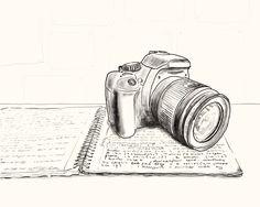 Camera illustration, drawing / Macchina fotografica, fotocamera, illustrazione, disegno