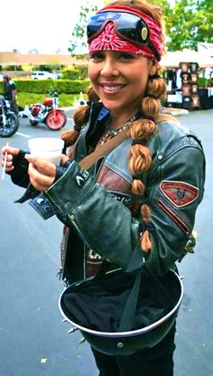 She's so cute! Love her pig tails, this style would definitely prevent knots while riding.