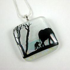 Elephant Walk Fused Glass Pendant