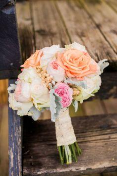 Pretty Peach Rustic North Carolina Wedding Rose Peony Bridal Bouquet http://meettheburks.com/