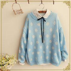 Dot sweater knitting pullover