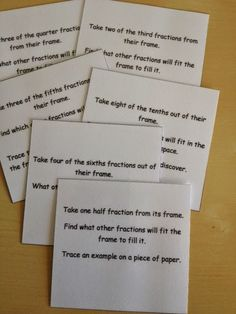 Elementary Observations: Continuing with Fractions Free, printable, fraction command cards
