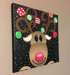 Reindeer christmas canvas decor by craftsbydaniellelee on Etsy