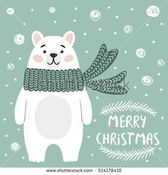 Funny polar bear on the green background. Merry Christmas hand-draw art. Vector illustration for winter holidays and greeting cards.