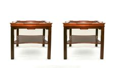 A delightful pair of  rectangular birch side tables.                                                                                                                                                                                                                                                                                                                                                                       C.1900 English.