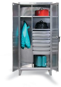 Stainless Steel Wardrobe Cabinet with Drawers - Stainless steel wardrobe cabinet with 4 drawers and wardrobe hanger rod. locking device can be locked with a standard padlock. Storage Area, Locker Storage, Steel Wardrobe, Stainless Steel Cabinets, Wardrobe Cabinets, Industrial Storage, Wardrobe Design, Cabinet Drawers, Wardrobes