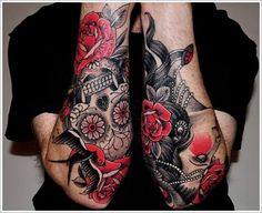 Black And Red Floral With Skull Tattoo On Both Forearm