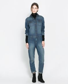I'd totally rock this... Image 1 of DENIM JUMPSUIT from Zara