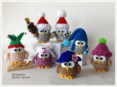 Owls in caps amigurumi PDF ebook crochet pattern by Tamara Nowack