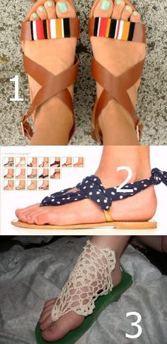 DIY sandals features a few ideas for making your own sandals for the summer.