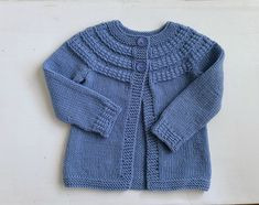 Blue merino wool girls cardigan, size 12 months baby, knit girl sweater 1 year, hand knitted Winter baby clothes, modern woollen handknits Winter Baby Clothes, Baby Winter, Baby Cardigan, Wool Cardigan, Baby Girl Sweaters, Baby Month By Month, Knitting Designs, How To Look Pretty, 12 Months