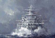 The painting is an intriguing combination of a United States Navy Iowa-class battleship and a Nazi Germany Bismarck-class battleship.…lending to a most melodramatic and fearsome aura Military Art, Military History, Poder Naval, Bateau Pirate, Ship Of The Line, Naval History, Army & Navy, Navy Ships, Ship Art
