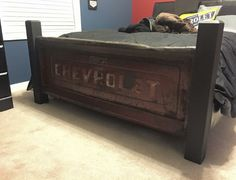 '67 Chevy tailgate footboard in my sons bedroom.