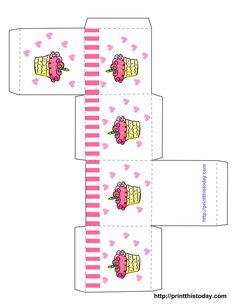 cupcake boxes template printable | Free Printable Birthday Favor Boxes (Templates) | Print This Today