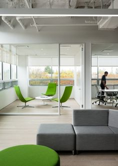 Green meeting room chairs