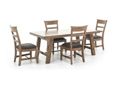 Sierra 5-pc. Dining Set - The Sierra dining set consists of solid mahogany ladder-back side chairs with cushion seat and turnbuckle accent and a dining table is built out of distressed mahogany solids in a dry leaf finish and industrial turnbuckle accent.