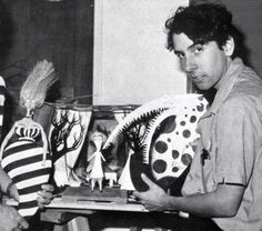 Tim Burton with models from his 1982 stop-motion animated short, 'Vincent'.