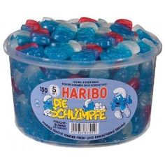 Best candy ever!!! Haribo Die Schluempfe (Smurf Gummi Candy) Tub (150 pcs):Amazon:Grocery & Gourmet Food