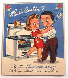 """Vintage Greeting Card-What's Cookkin"""""""