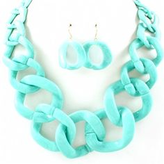 Georgia's Turquoise Chain Link Necklace Set