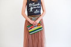 Totem Salvaged Bull Print Clutch. Western fashion. Punchy style. Long tulle skirt. Boho belt. Rad graphic tank.