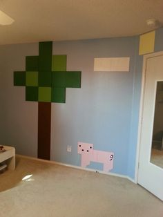Minecraft room pig change to wolf Boys Minecraft Bedroom, Minecraft Room Decor, Minecraft Wall, Lego Bedroom, Kids Bedroom, Bedroom Decor, Minecraft Houses, Minecraft Crafts, Minecraft Furniture
