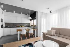 Znalezione obrazy dla zapytania połączenie kuchni z pokojem dziennym