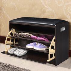 2016 Wooden Shoe Cabinet Closet Storage Rack PU Seat Bench Entryway Hallway   #StorageBench