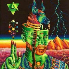 Visionary art, Egyptian, ankh, nature, pyramids, tree of life, sacred geometry (geometria sagrada)