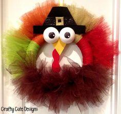 Cute Design 2014 Thanksgiving Tom Turkey Wreath Crafts - Red. Orange, Green , Brown Mesh