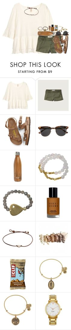 """earthy"" by kate-elizabethh ❤ liked on Polyvore featuring Abercrombie & Fitch, Birkenstock, H&M, S'well, Electric Picks, Bobbi Brown Cosmetics, Alex and Ani and Kate Spade"