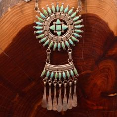 """Sterling Silver - HEAVY ZUNI D ETSATE Turquoise 44g - Necklace (18"""") ZF855"""