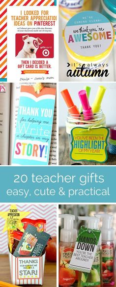 20 cute, easy, cheap & practical teacher appreciation gift ideas. Get ready for the end of the school year!