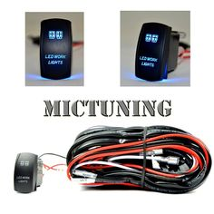 MICTUNING LED Light Bar Wiring Harness ON/OFF Laser Rocker Switch Blue(2 Lead 12ft)