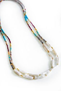 HEISHI freshwater pearl & gemstones necklace by keijewelry on Etsy
