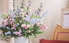 pink and baby blue flowers