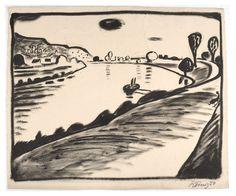 An der Elbe, Hans Körnig, Zeichnung , 1950