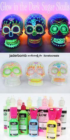 Glow in the Dark skulls with @jaderbomb ! Perfect for Dia De Los Muertos!