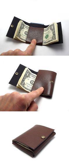 Doblez simple billetera de cuero marrón Chocolate por Sakao en Etsy