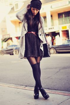 Gray Oversized Knit Sweater + Sweater Dress + Pink Skinny Belt + Black Over the Knee Socks + Black Lace Up Ankle Boots