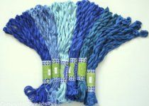 New ThreadsRus 60 Skeins of Silky Hand Embroidery Cross Stitch Floss Threads - BLUE TONES from ThreadsRus