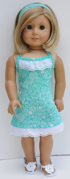Mint Halter Dress by LoriLizGirlsandDolls, $20.00