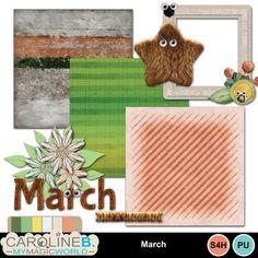 Digital Scrapbooking Kits   March Mini 02-(carolnb)   Animals - Pets, Everyday, Family, Friends, Nature, Seasons - Spring   MyMemories